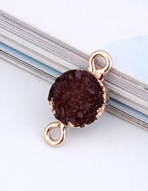 Fashion Wine Red Round Resin Double Hanging Earrings Bracelet
