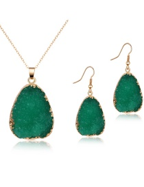 Fashion Green Imitation Natural Stone Resin Necklace Earring Set