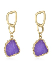 Fashion Purple Imitation Natural Stone Geometric Earrings