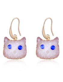 Fashion White Resin Cat Earrings