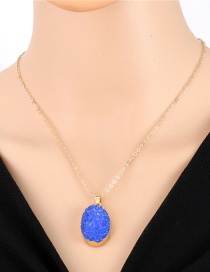Fashion Blue Imitation Natural Stone Oval Resin Necklace