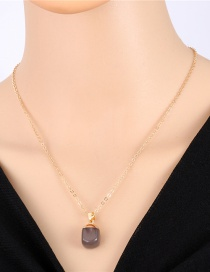 Fashion Brown Imitation Natural Stone Geometric Resin Necklace