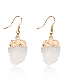 Fashion White Strawberry Ball Ear Natural Stone Earrings