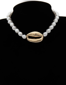 Fashion Golden 2430 Beaded Pearl Big Shell Necklace