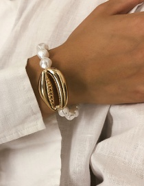 Fashion Golden 0431 Beaded Pearl Big Shell Bracelet