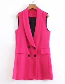 Fashion Rose Red Double-breasted Vest