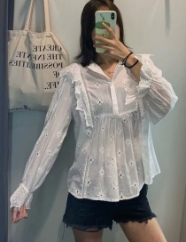 Fashion White Openwork Embroidered Ruffled Shirt