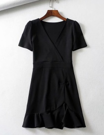 Fashion Black Ruffled V-neck Irregular Dress
