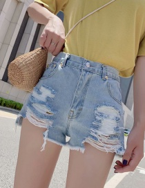 Fashion Blue Washed High-density Denim Raw Shorts