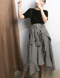 Fashion Black Irregular Plaid Fake Two-piece Dress