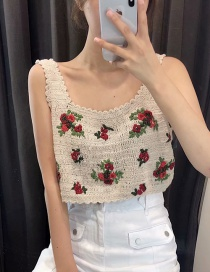 Fashion Khaki Rose Pattern Crochet Suspender Top
