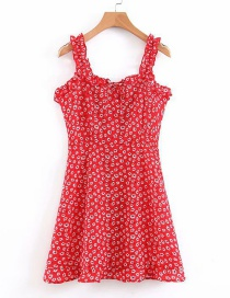 Fashion Red Floral Print Sling Ruffled Backless Dress