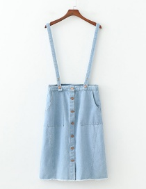 Fashion Blue Single-breasted Strap Denim Skirt