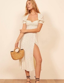 Fashion White Polka Dot Printed Collar Pleated Split Dress