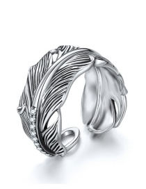 Fashion Silver 925 Silver Inlaid Zircon Feather Ring