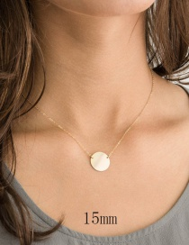 Fashion Gold Stainless Steel Geometric Round Glossy Necklace