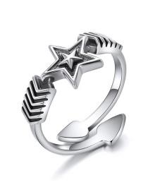 Fashion Silver 925 Silver Open Pentagram Ring