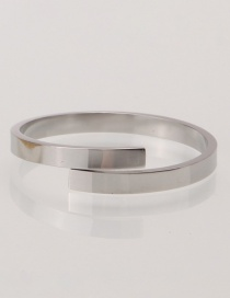 Fashion Steel Color Stainless Steel Geometric Smooth Ring