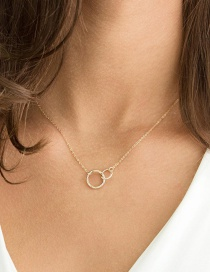 Fashion Gold Double Ring Stainless Steel Necklace