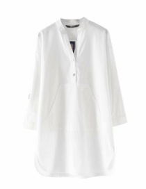 Fashion White Kangaroo Pocket Shirt