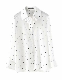 Fashion White Lapel Tie With Small Love Print Shirt