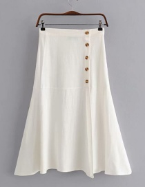 Fashion White Side-breasted A-line Skirt