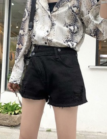 Fashion Black Washed Diagonal Buckled Denim Shorts