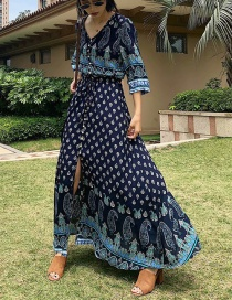 Fashion Navy Cashew Flower Blue And White Porcelain Dress