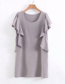 Fashion Gray Lotus Leaf Crew Dress