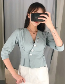 Fashion Green Shell Buckle V-neck Shirt