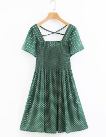 Fashion Green Square Collar Elastic Halter Polka Dot Print Dress