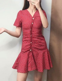 Fashion Red V-neck Dot Print Single-breasted Dress