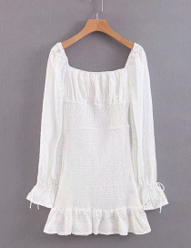 Fashion White Spliced ??elastic Waist Dress