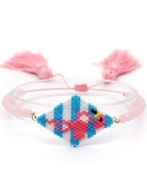 Fashion Pink Rice Beads Woven Flamingo Crystal Tassel Bracelet