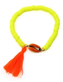 Fashion Yellow String Ceramic Piece Natural Shell Tassel Bracelet