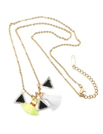 Fashion Gold Rice Beads Woven Triangle Tassel Necklace