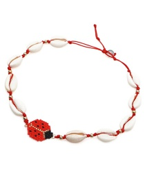 Fashion Red Rice Beads Woven Seven-star Ladybug Shell Necklace