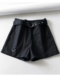 Fashion Black Belt Stitching Wide Leg Jeans Shorts
