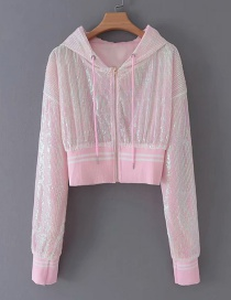 Fashion Pink Sequined Hooded Zipper Jacket