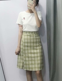 Fashion Matcha Green Plaid High Waist Skirt
