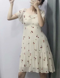 Fashion Beige Cherry Print Small Square Neck Dress