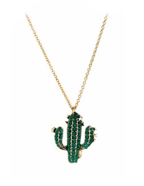 Green Cactus With Diamond Necklace