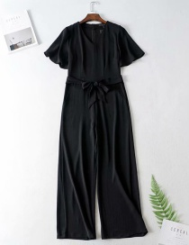 Fashion Black V-neck Lace-up Jumpsuit