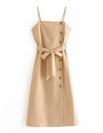 Fashion Khaki Cotton And Linen Suspenders Buckle Belt Dress