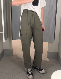 Fashion Green Tooling High Waist Straight Pants