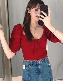 Fashion Red Lace-up Drawstring Puff Sleeve Collar Shirt