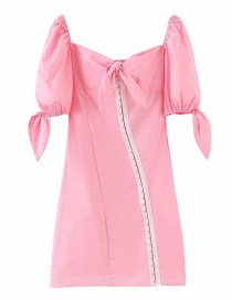 Fashion Pink Diagonal Buckle Bow Dress