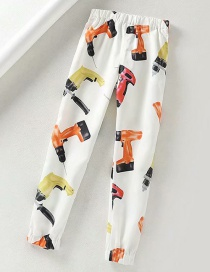 Fashion White Full Printed Electric Drill Beam Foot Harem Pants