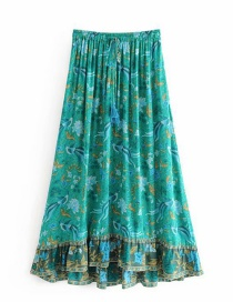 Fashion Green Phoenix Bird Print Elastic Waist Strap Skirt
