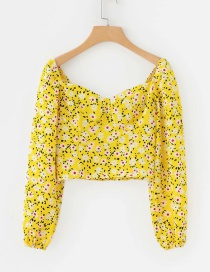 Fashion Yellow Flower Print Collar Shirt